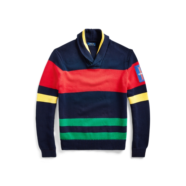 폴로 랄프로렌 Polo Ralph Lauren Striped Cotton Shawl Sweater,Navy/Green/Red/Yellow