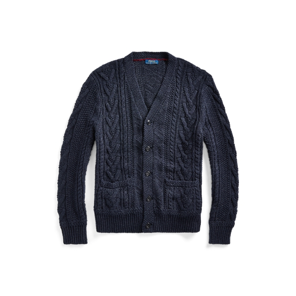 폴로 랄프로렌 Polo Ralph Lauren Aran Cotton-Blend Cardigan,Navy
