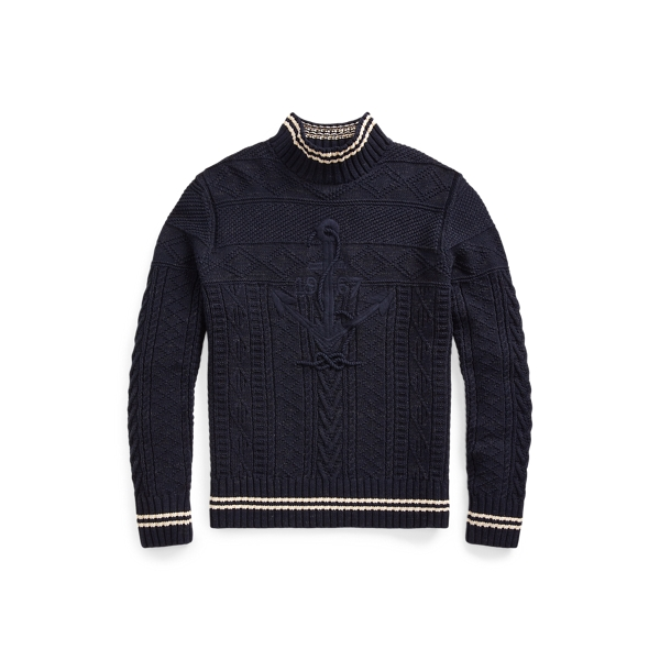 폴로 랄프로렌 Polo Ralph Lauren Hand-Embroidered Sweater,Navy/Cream