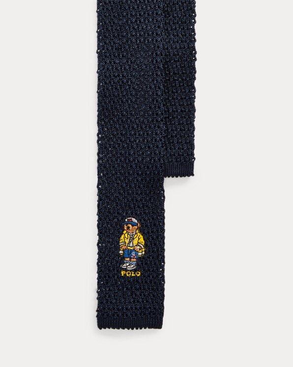 Nautical Bear Knit Silk Tie