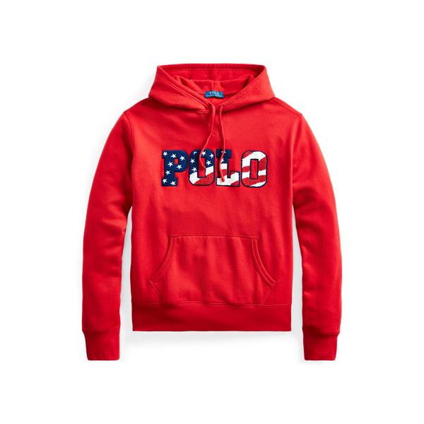 Ralph Lauren Fleece Graphic Hoodie In Red