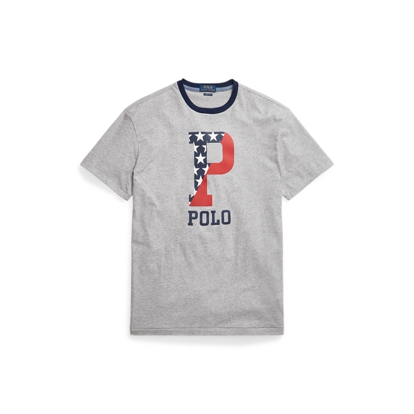 Ralph Lauren Classic Fit Graphic T-shirt In Andover Heather