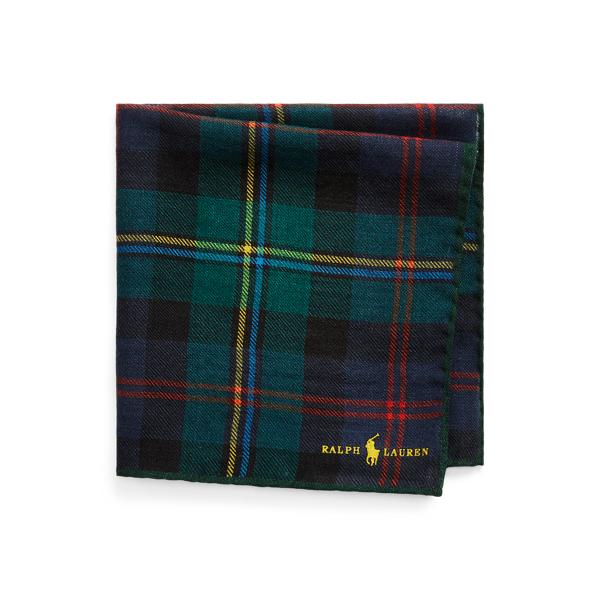폴로 랄프로렌 울 포켓 스퀘어 Polo Ralph Lauren Tartan Wool Pocket Square,Navy/Green Multi