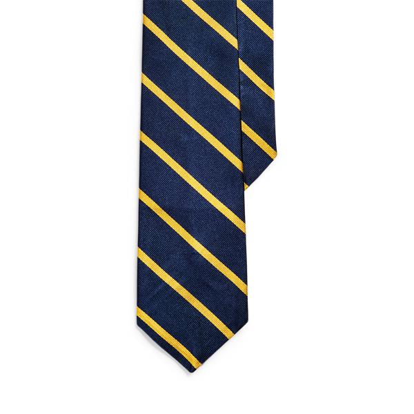 폴로 랄프로렌 스트라이프 실크 내로우 넥타이 Polo Ralph Lauren Striped Silk Repp Narrow Tie,Navy/Gold