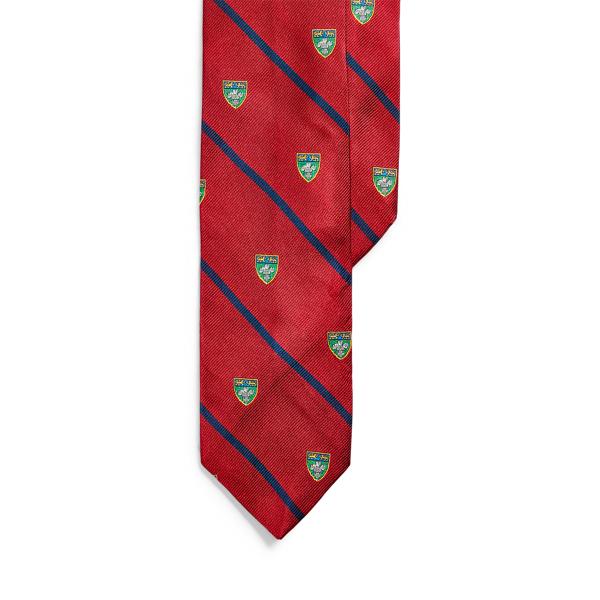폴로 랄프로렌 실크 내로우 넥타이 Polo Ralph Lauren Striped Silk Narrow Club Tie,Red