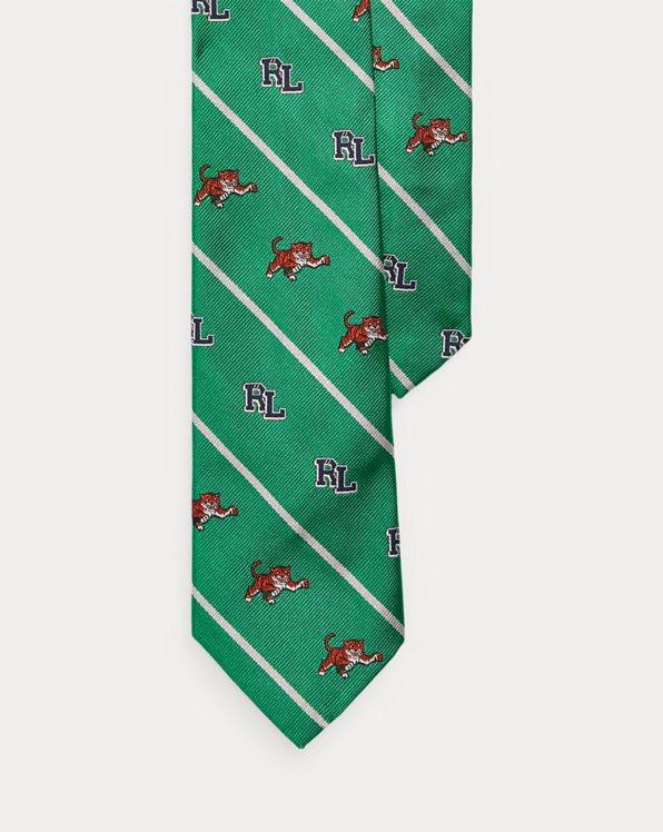 Cravatta sottile in seta con tigre RL