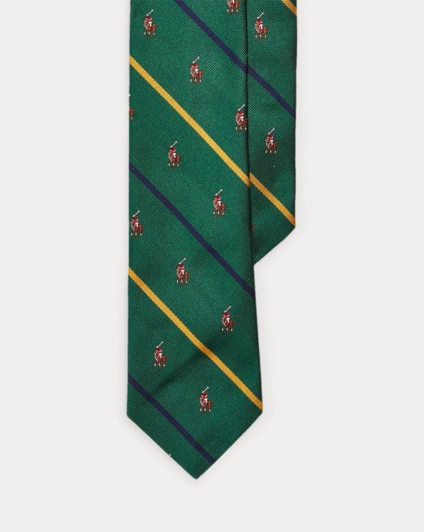 Cravate étroite joueur de polo soie