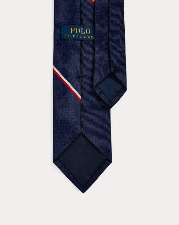 Ralph Lauren Polo Mens Silk Pocket Square Navy Blue Red Dots