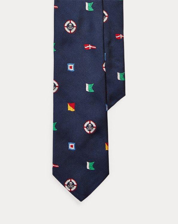 Cravate étroite drapeaux nautiques