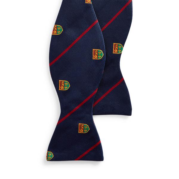 폴로 랄프로렌 스트라이프 실크 보우 타이 Polo Ralph Lauren Striped Silk Club Bow Tie,Navy/Red