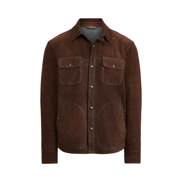 폴로 랄프로렌 Polo Ralph Lauren Nubuck Leather Shirt Jacket,Cooper Brown