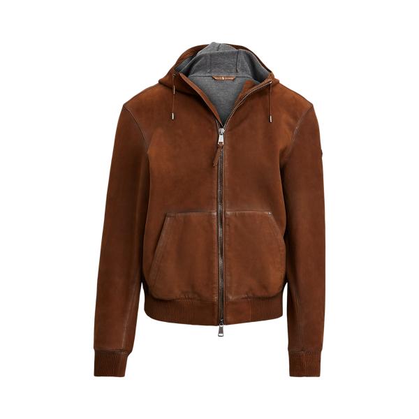 폴로 랄프로렌 Polo Ralph Lauren Nubuck Leather Hoodie,Country Brown
