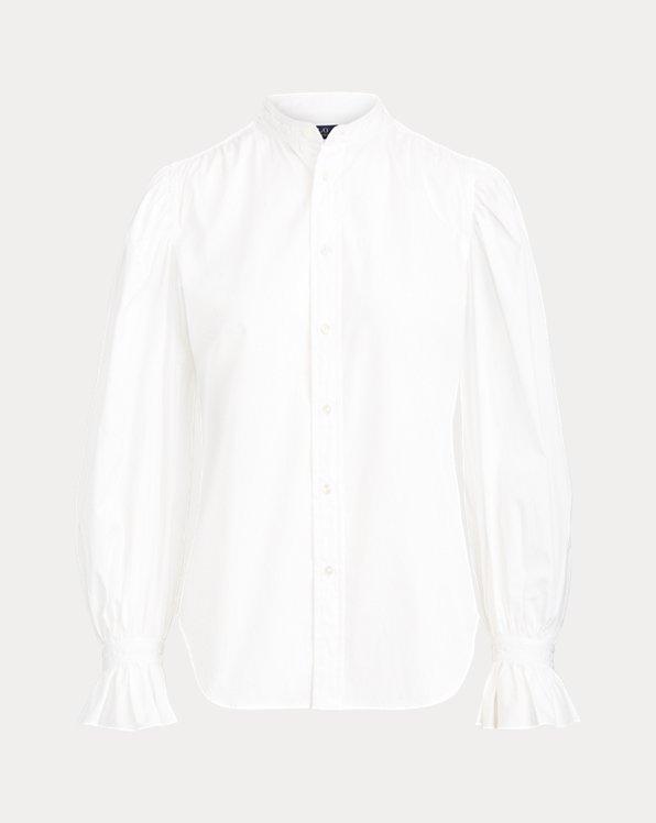 Camicia in cotone con polsini con volant