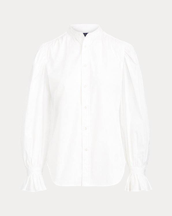 Ruffle-Cuff Cotton Shirt