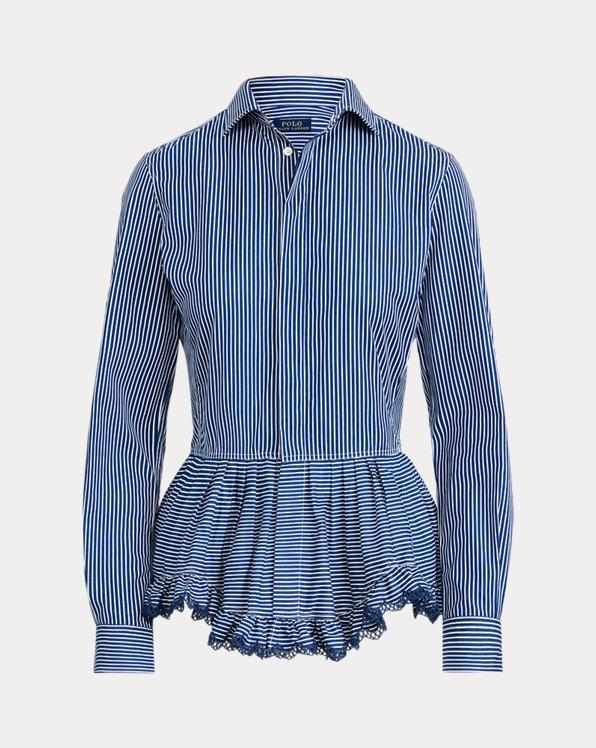 Camisa con péplum de algodón a rayas