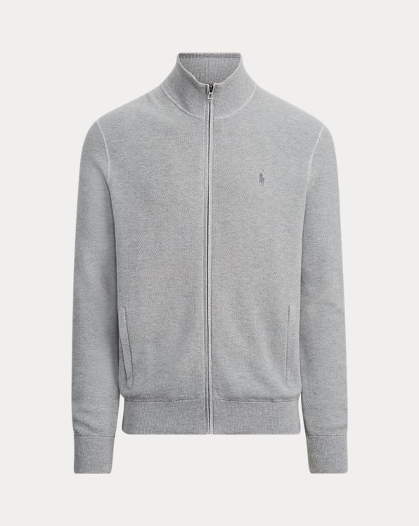 Cotton Mesh Full-Zip Jumper