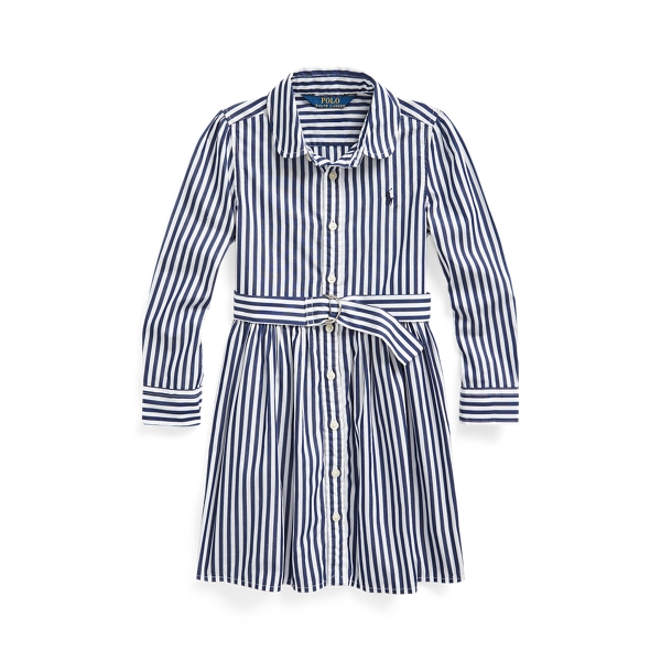 폴로 랄프로렌 여아용 셔츠드레스 Polo Ralph Lauren Striped Cotton Shirtdress,Navy Multi