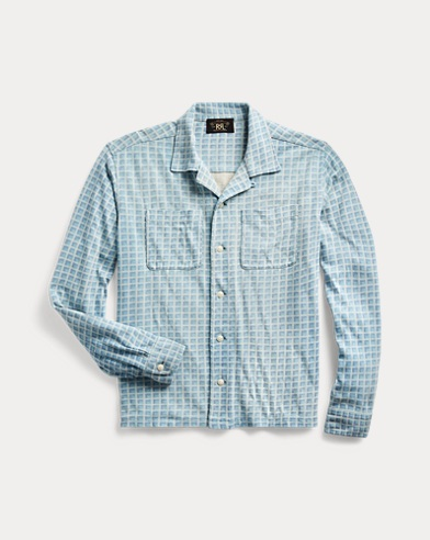 Plaid-Print Jersey Camp Shirt