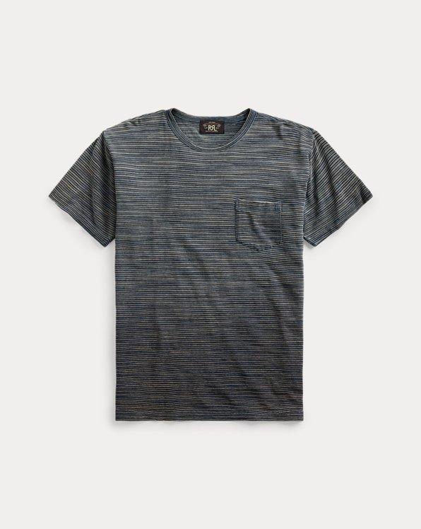 T-shirt indigo rayé à poche