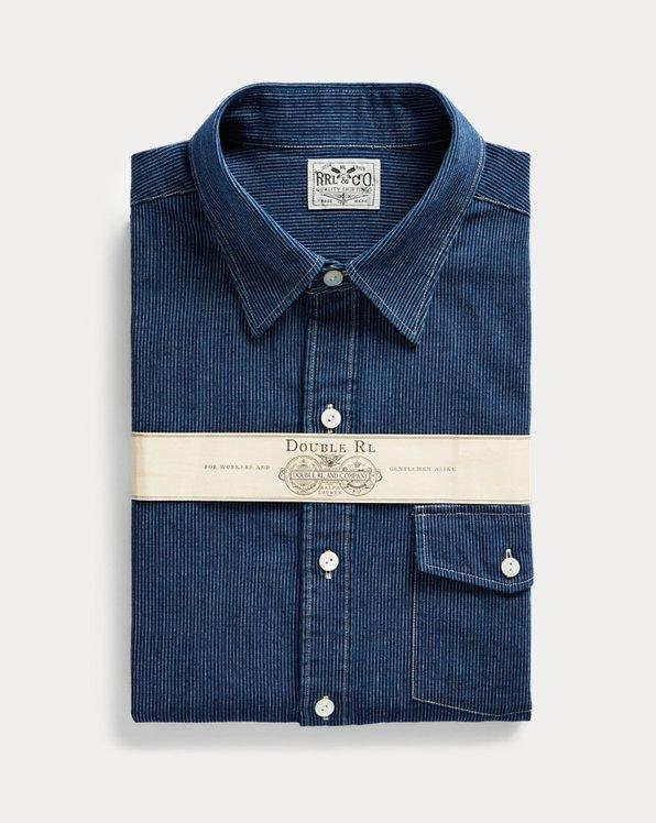 Slim-Fit Hemd mit indigoblauen Streifen