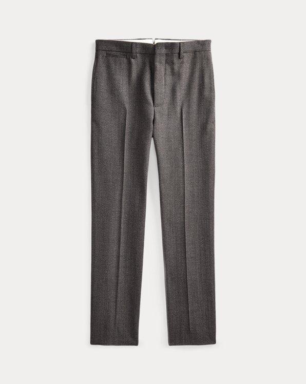 Pantaloni in lana a spina di pesce Slim-Fit