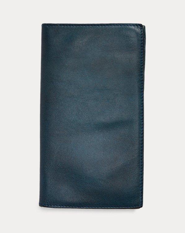 Portafoglio da giacca in pelle indaco