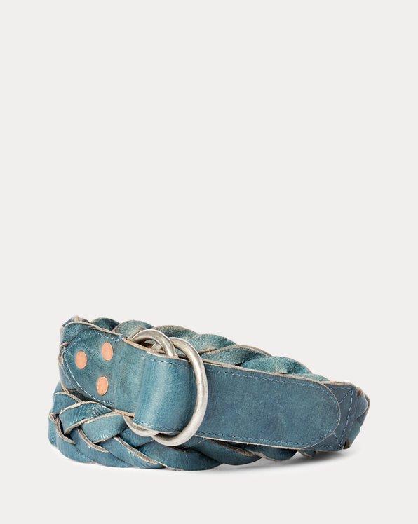 Braided Indigo Leather Belt