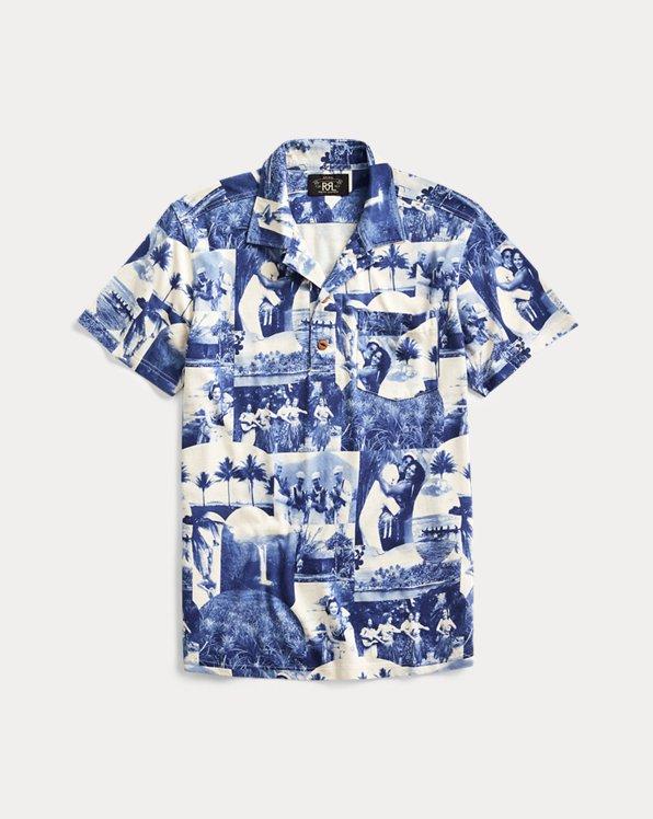 Photo-Print Jersey Camp Shirt