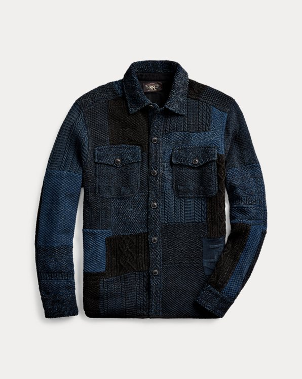 Indigo Patchwork Shirt Jumper