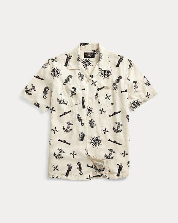Nautical-Print Camp Shirt