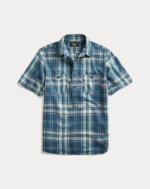 Indigo Plaid Popover Shirt