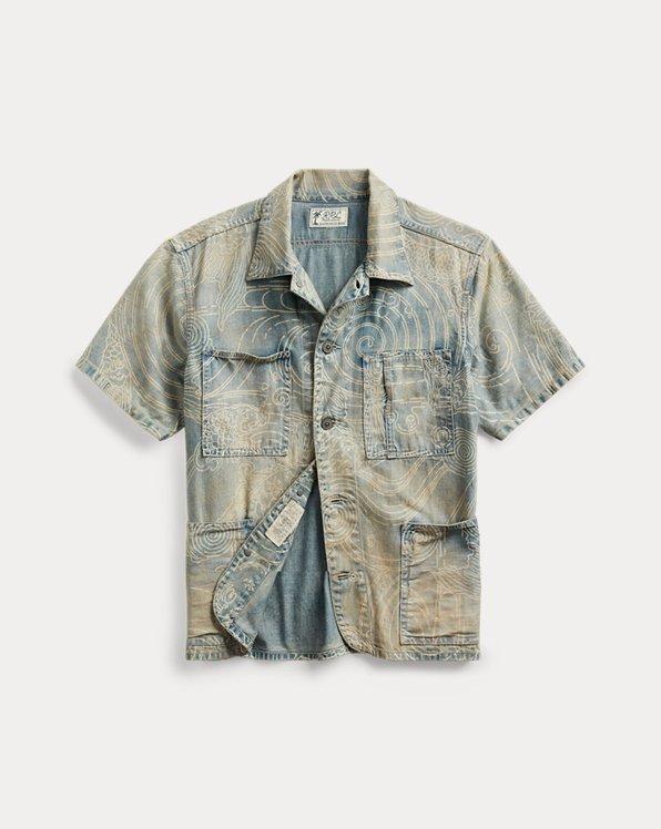 Indigo Koi-Print Denim Shirt