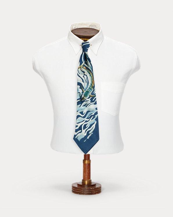 Cravatta in seta con pesce vela