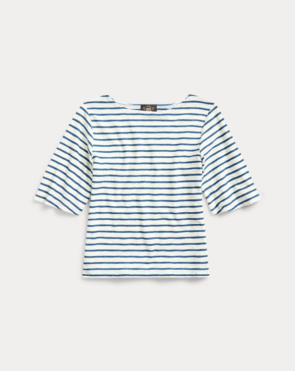 Indigo-Stripe Boatneck Top