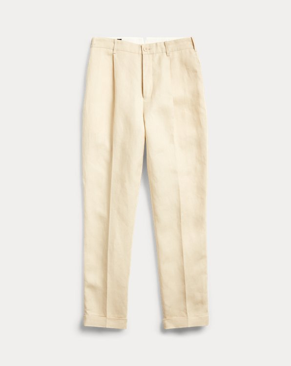 Slim Pleated Linen Trouser