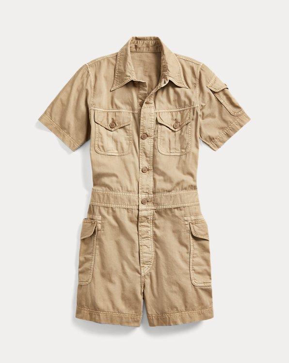 Garment-Dyed Twill Romper