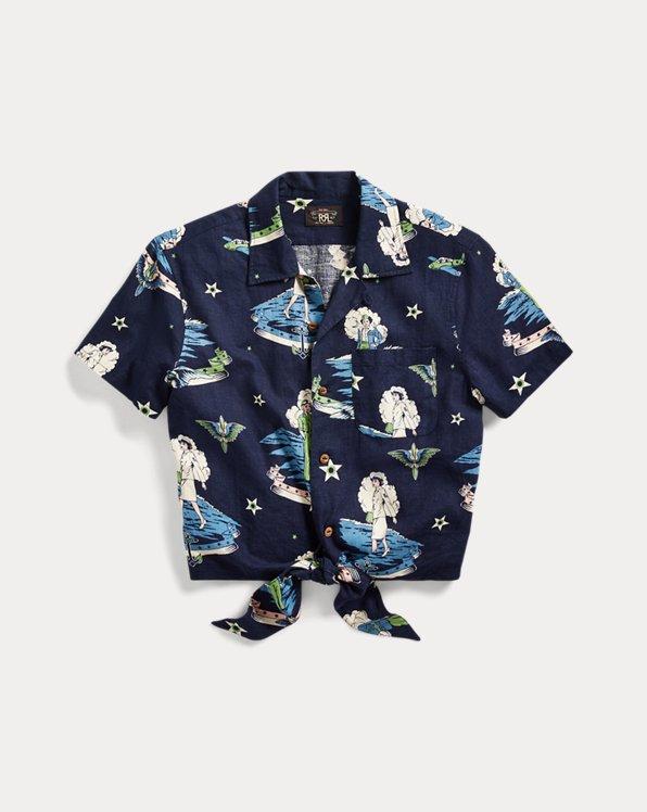 Tie Linen-Blend Camp Shirt