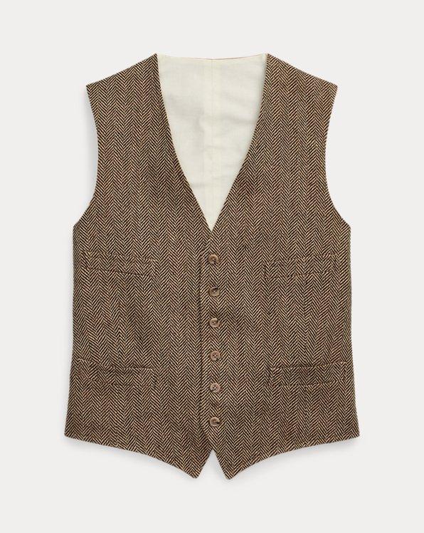 Linen-Blend Herringbone Waistcoat