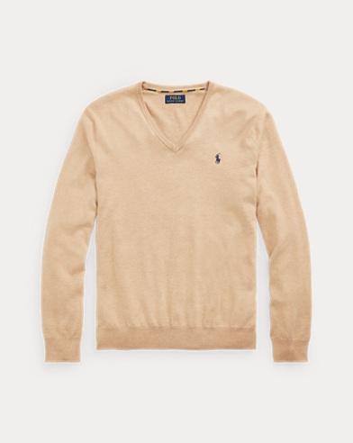 Slim Fit Cotton V-Neck Jumper