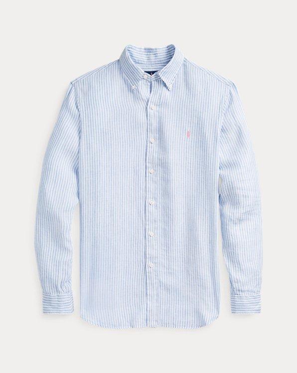 Gestreiftes Slim-Fit Leinenhemd