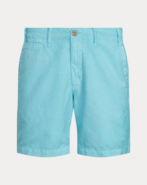 Pantalón corto en mezcla de lino Straight Fit