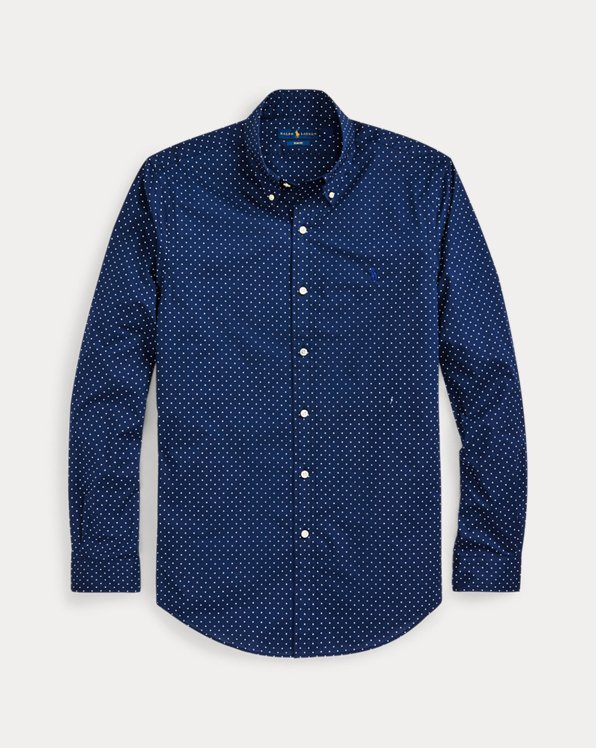 Camicia in popeline a pois Slim-Fit