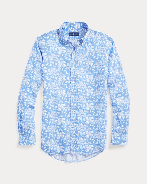 Slim Fit Tropical Linen Shirt