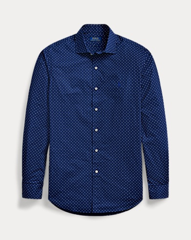 Gepunktetes Classic-Fit Popelinehemd