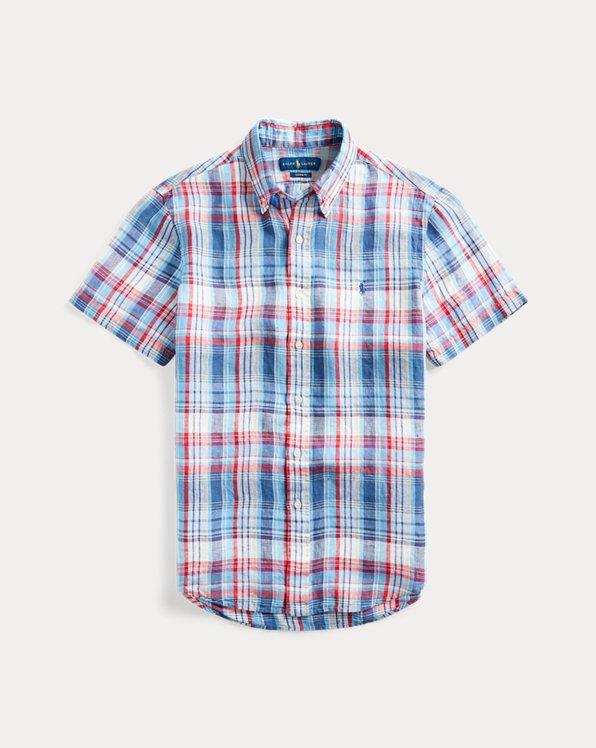 Camisa de lino de cuadros Classic Fit