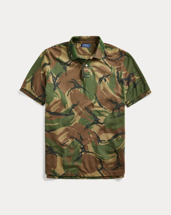 Polo in piqué con stampa camouflage