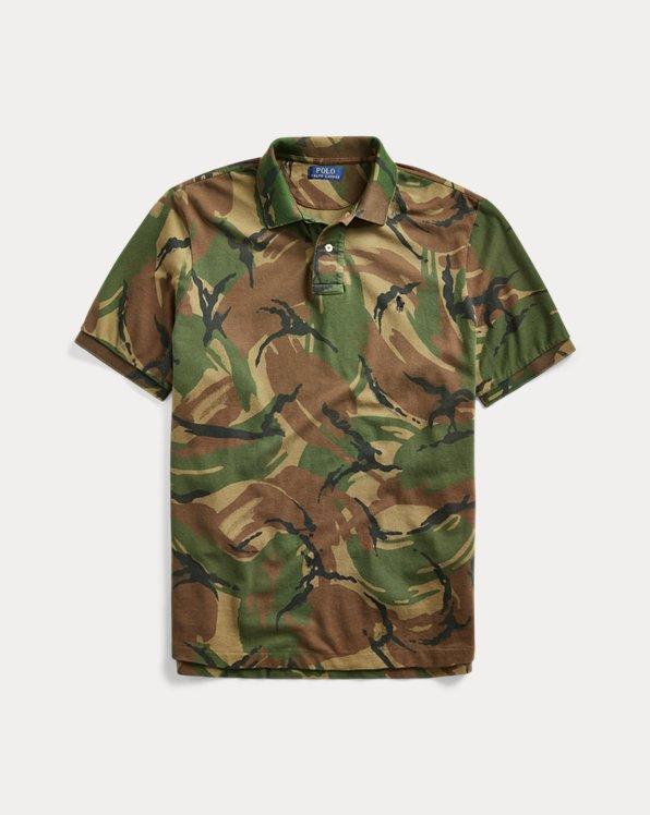 Camo-Print Mesh Polo Shirt
