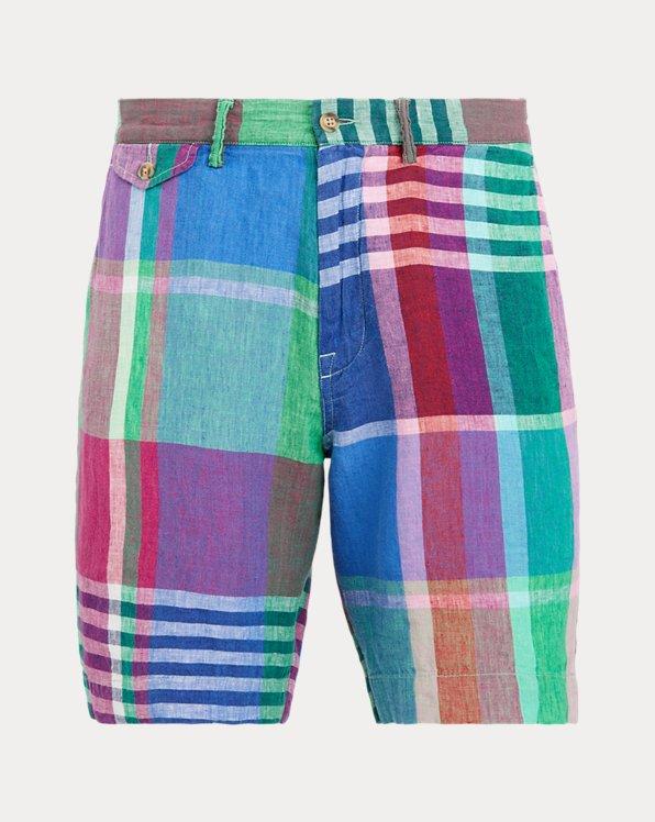 Pantalones cortos en lino de madrás Classic Fit