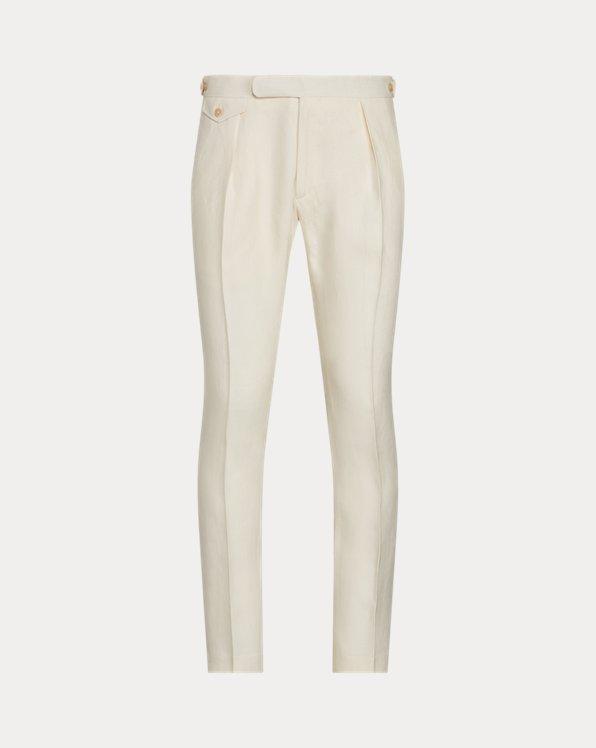 Pantalon de costume plissé en lin