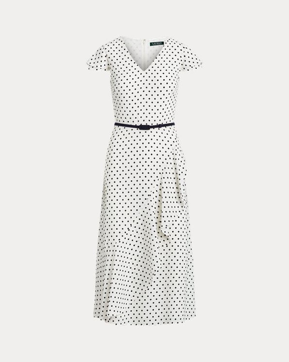 Ruffle-Trim Crepe Dress